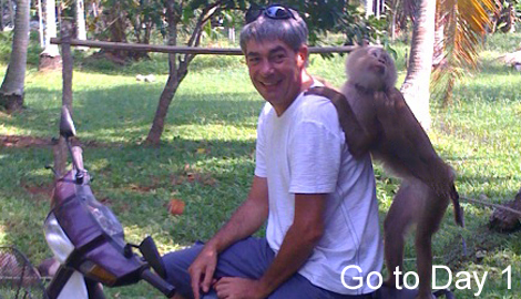 neale on a motorbike with a monkey