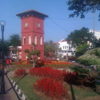 clock tower in the old city of malacca
