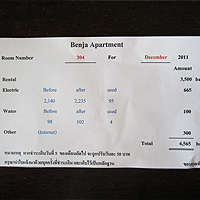 Bill for Rent and Utilities in Thailand